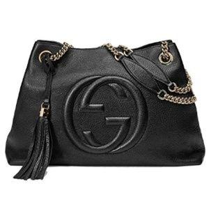 Gucci Bags - Gucci Soho Medium Black Double Chain Tote Bag